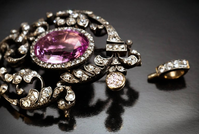 Antique 19th Century Tourmaline Diamond Pendant Brooch In Excellent Condition For Sale In Chicago, IL