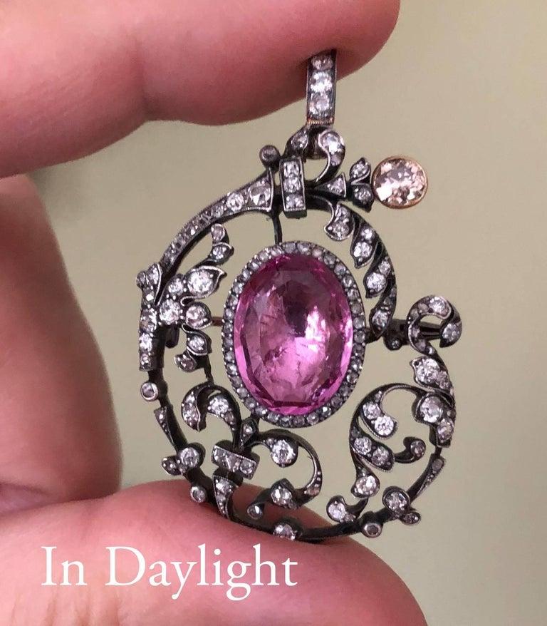 Women's Antique 19th Century Tourmaline Diamond Pendant Brooch For Sale