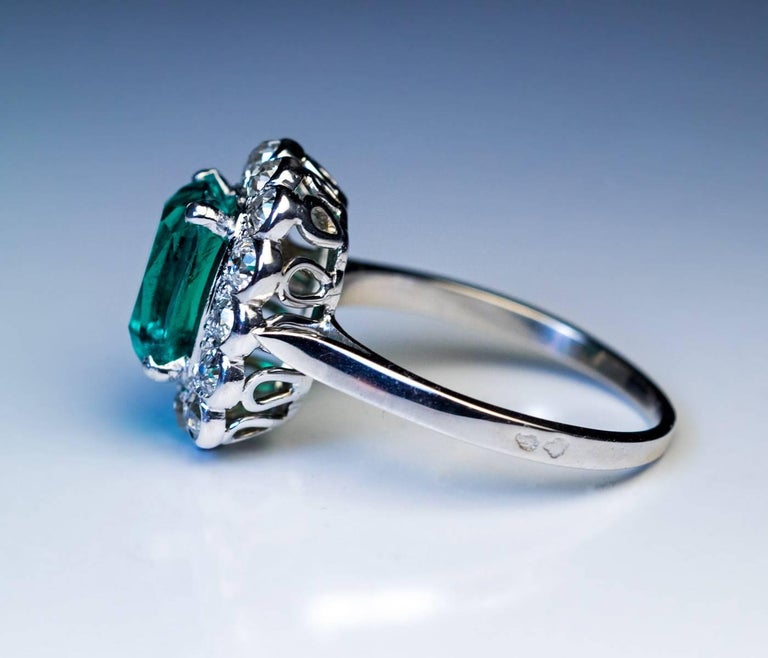 Cushion Cut Rare Untreated 2.31 Carat Colombian Emerald Diamond Ring For Sale
