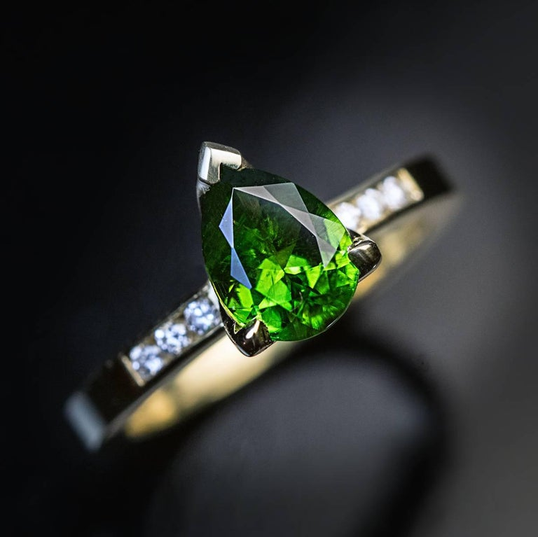 1.45 Carat Russian Demantoid Garnet Diamond Gold Ring In As new Condition For Sale In Chicago, IL