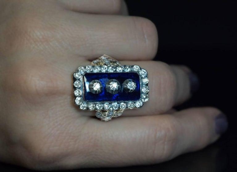 Women's or Men's Antique Georgian Era Blue Glass Diamond Unisex Ring For Sale