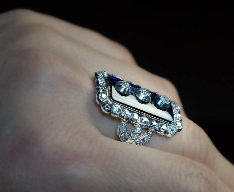 Antique Georgian Era Blue Glass Diamond Unisex Ring For Sale 1