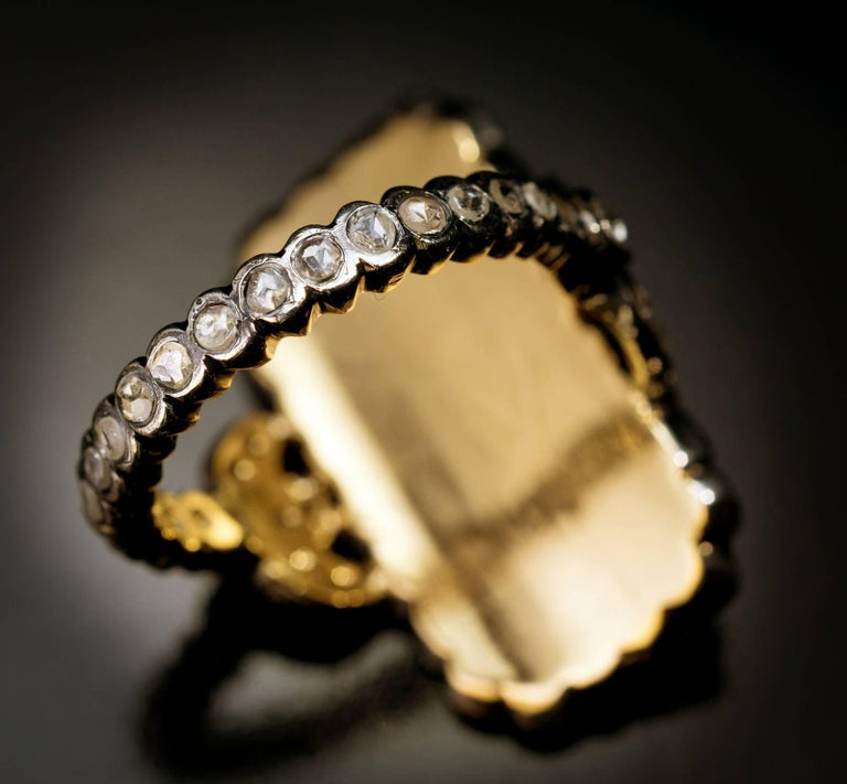 Antique Georgian Era Blue Glass Diamond Unisex Ring For Sale 2