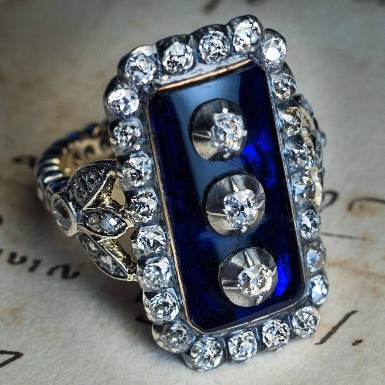 Antique Georgian Era Blue Glass Diamond Unisex Ring For Sale 3