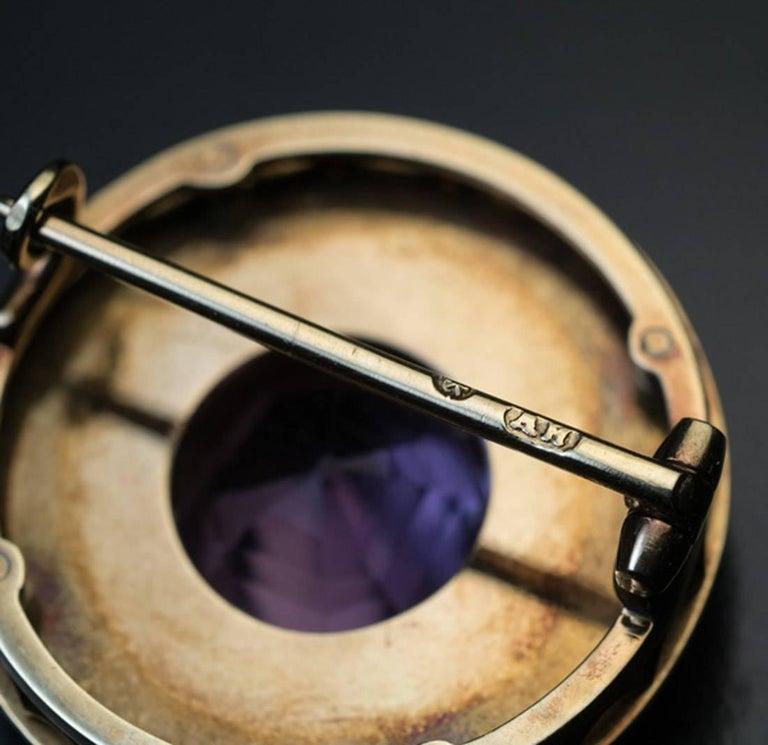 Women's or Men's Faberge Antique Russian Tourmaline Enamel Diamond Gold Brooch For Sale