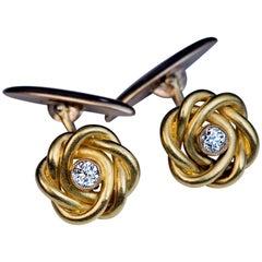 Antique Russian Diamond Gold Knot Cufflinks