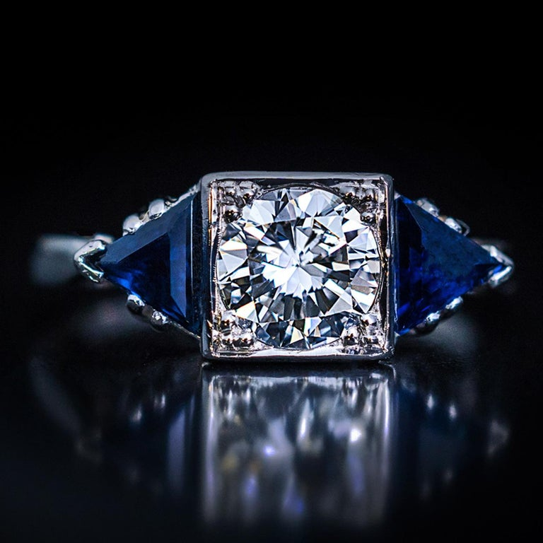 Women's Art Deco Diamond Triangle Sapphire Platinum Engagement Ring For Sale