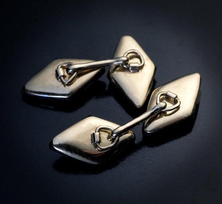 Art Deco Black Onyx Diamond Platinum Gold Cufflinks In Excellent Condition For Sale In Chicago, IL