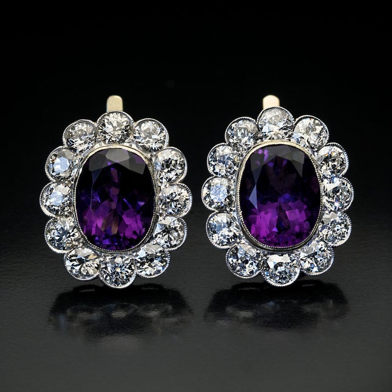 Antique Russian Amethyst Diamond Cluster Earrings In Excellent Condition For Sale In Chicago, IL