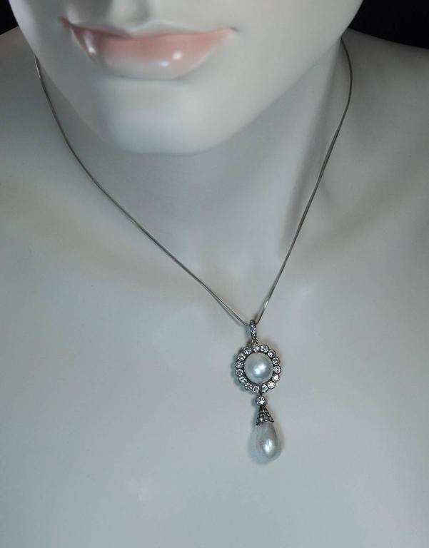 Belle Époque Faberge Antique Natural Pearl Diamond Gold Pendant For Sale