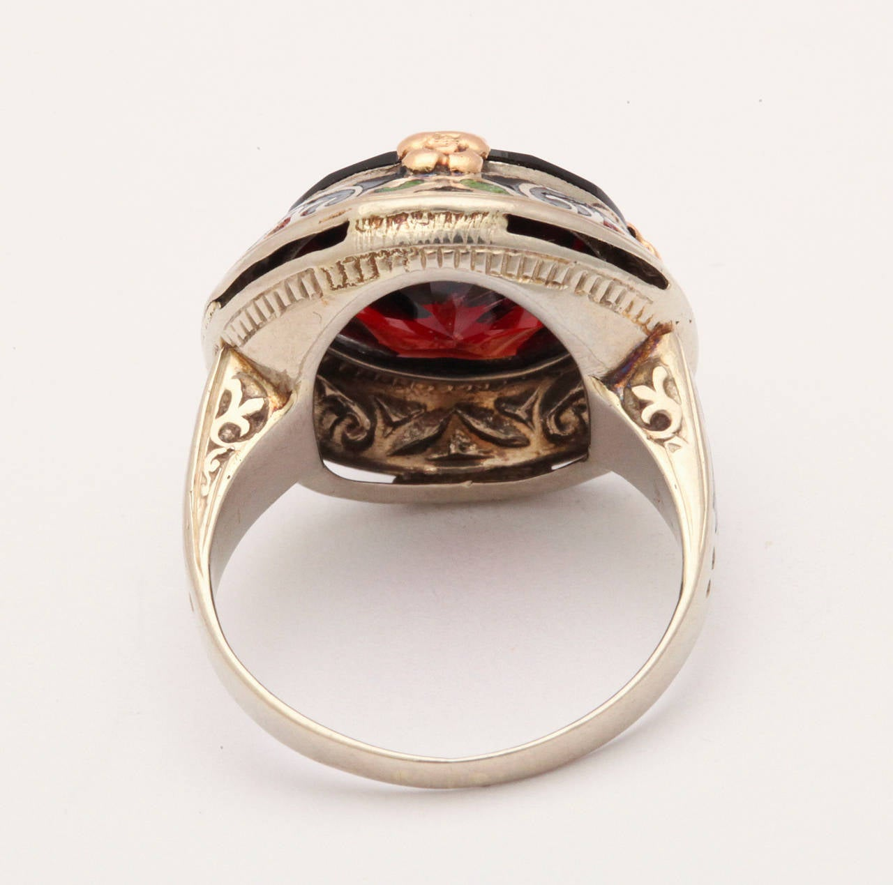 Art Deco Garnet Enamel Ring 3