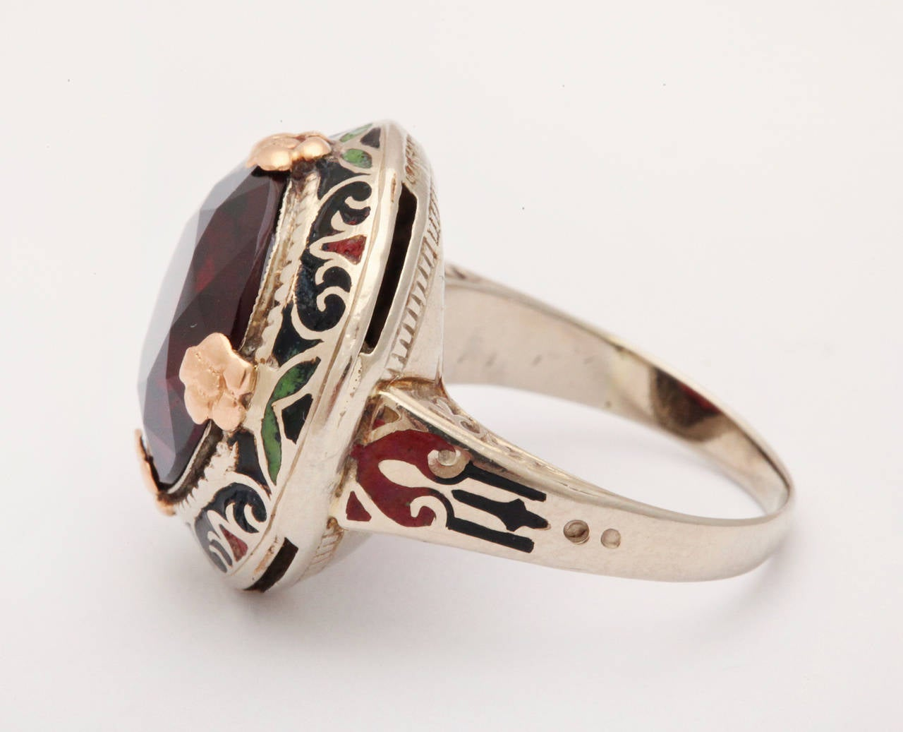Art Deco Garnet Enamel Ring 4