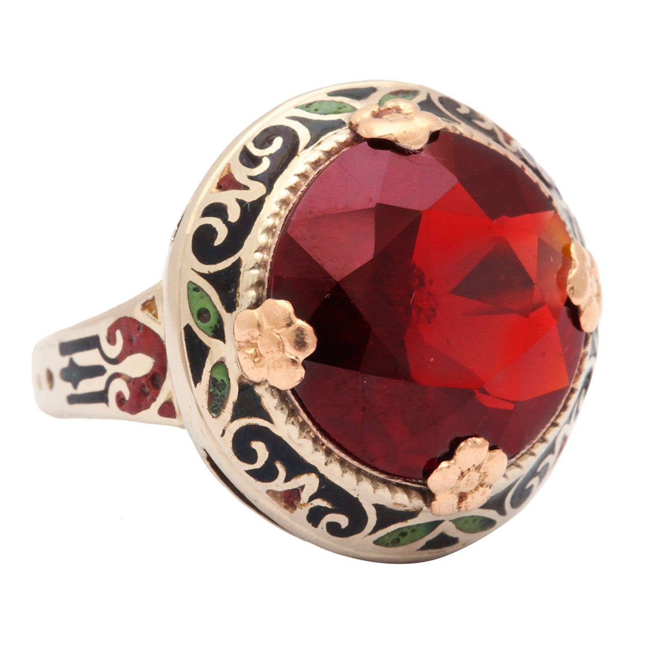 Art Deco Garnet Enamel Ring 1
