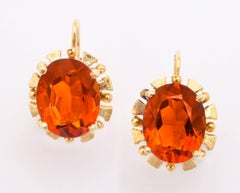 Citrine Lever Back Earrings, Mid-20th Century