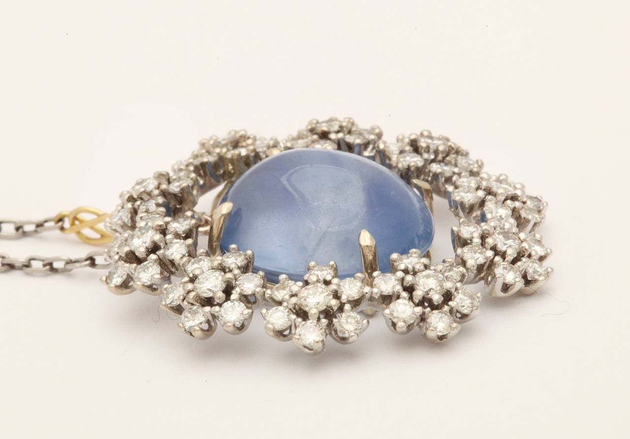 Contemporary Midcentury Vintage Radiant Star Sapphire and Diamond Pendant For Sale