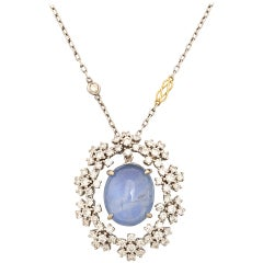 Midcentury Vintage Radiant Star Sapphire and Diamond Pendant