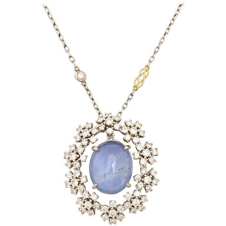 Midcentury Vintage Radiant Star Sapphire and Diamond Pendant For Sale