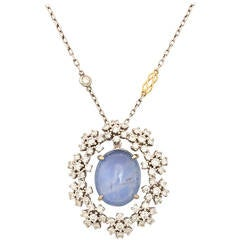 Star Sapphire Radiant Diamond Gold Pendant