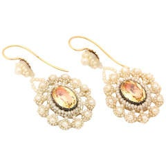 Antique Victorian Natural Pearl Citrine Earrings