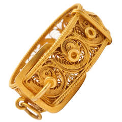 Early Victorian Gold Filigree Buckle and Strap Ring