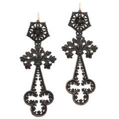 19th Century Geiss Berlin Iron Chandelier Earrings