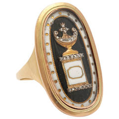 Superior Enamel Diamond Gold Georgian Urn Ring