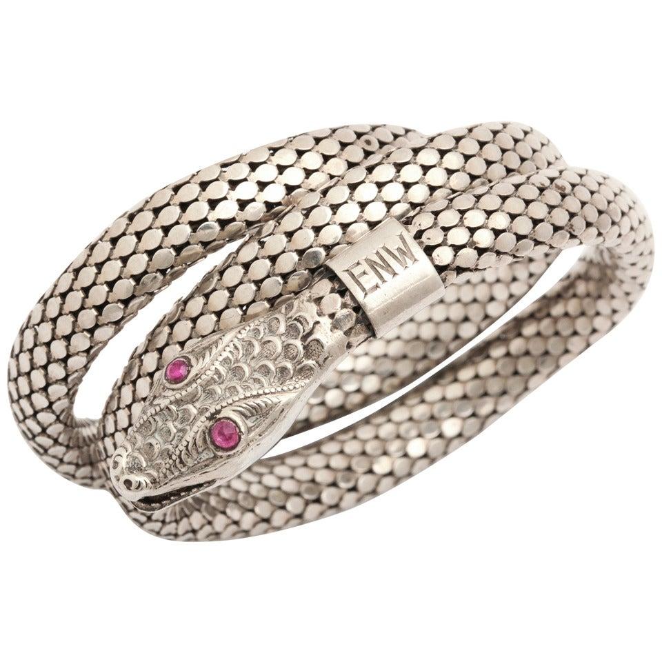 Art Deco Flexible Silver Serpent Bracelet with Ruby Eyes