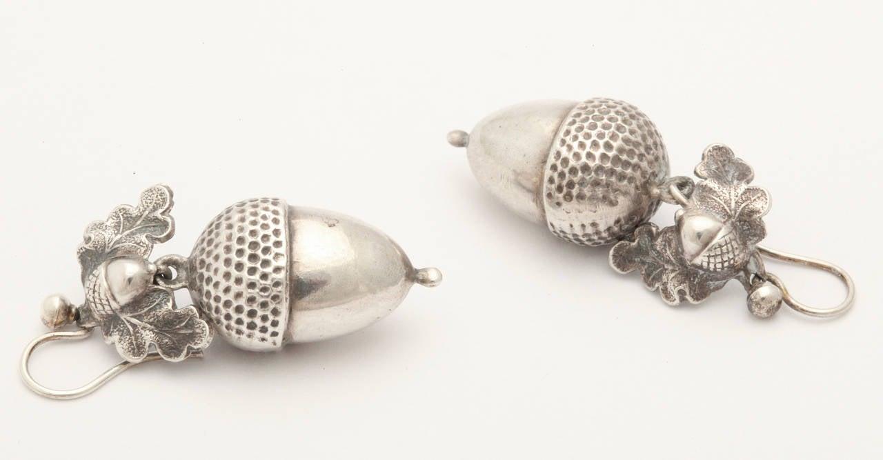 Victorian Silver Acorn And Oak Leaf Dangle Earrings At 1stdibs