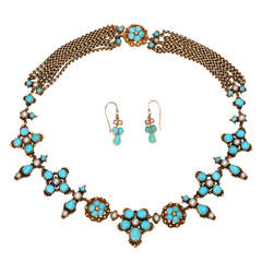 Summer Blue Victorian Turquoise and Natural Pearl Necklace