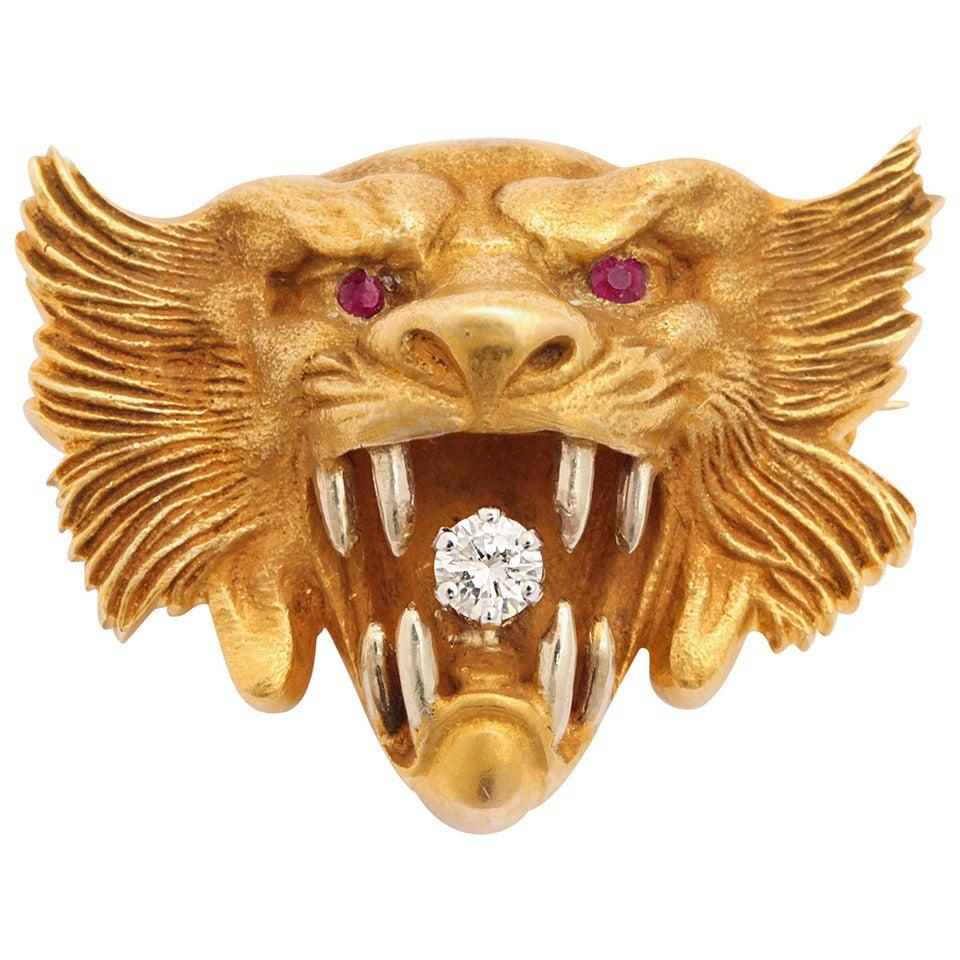 Art Nouveau Diamond Ruby Yellow Gold Lion Brooch