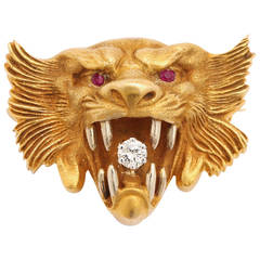 Art Nouveau Diamond Ruby Yellow Gold Lion Brooch