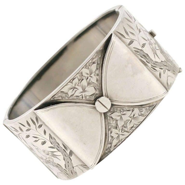 A Different Drummer:  Victorian Silver Bangle Bracelet