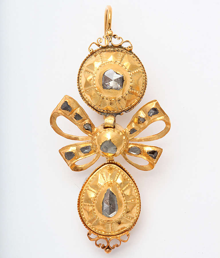Eighteenth Century Iberian Pendeloque Diamond Shield