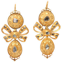 18th Century Iberian Pendeloque Diamond Shield Earrings