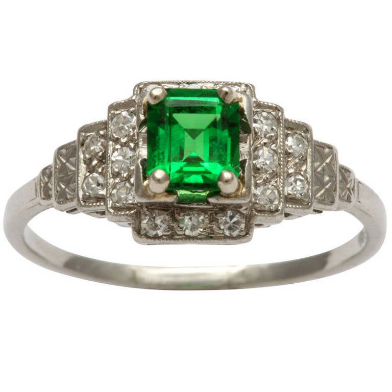 Art Deco Tsavorite Diamond Platinum Ring