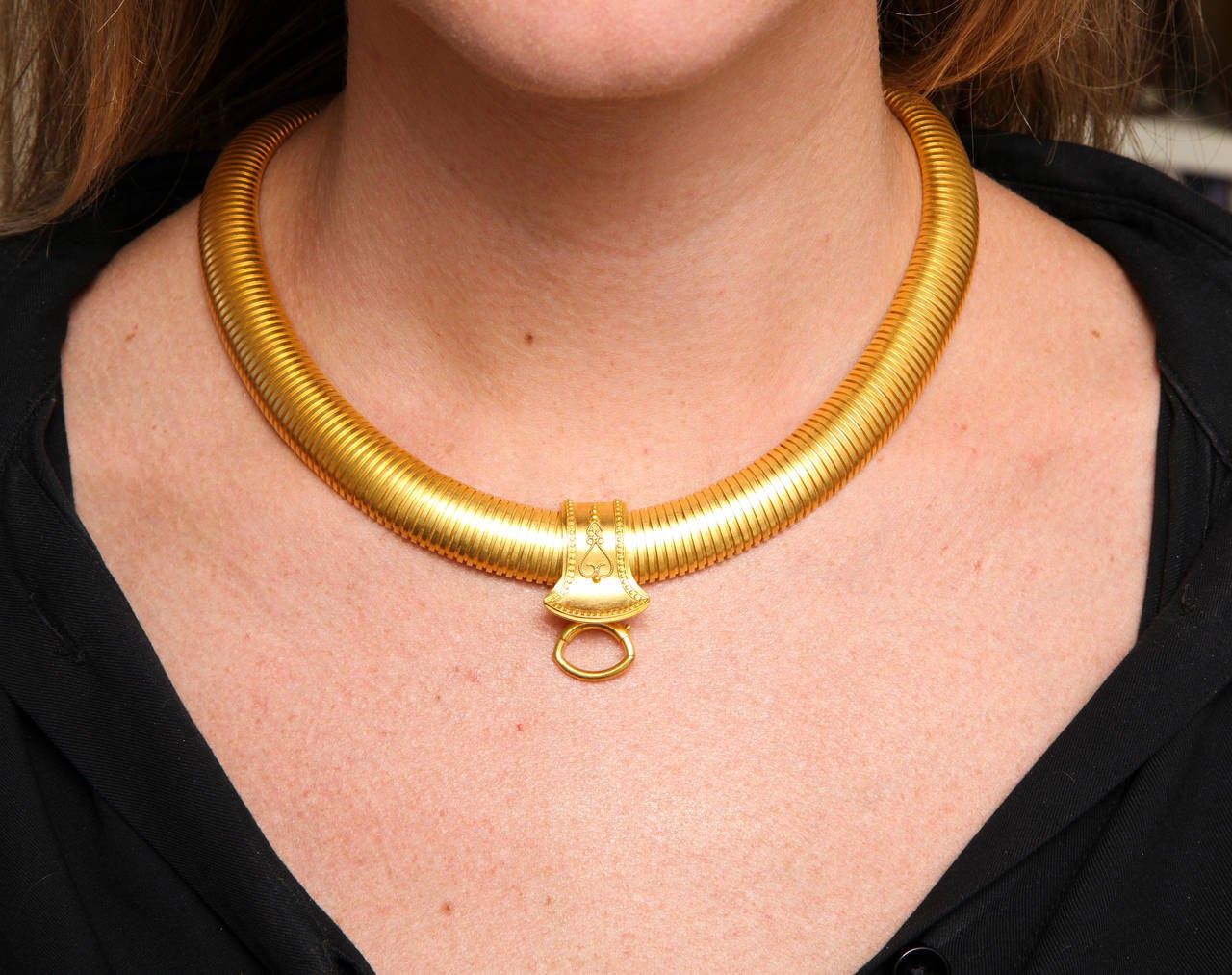 Wide Victorian Snake Chain Necklace with Slide In Excellent Condition For Sale In Stamford, CT