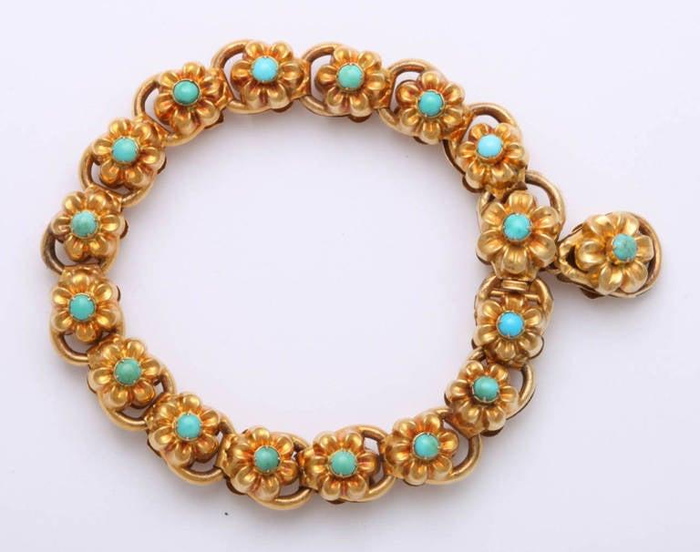 Antique Victorian Turquoise Gold Floral Bracelet 2