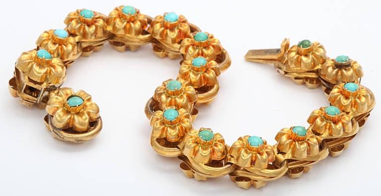 Antique Victorian Turquoise Gold Floral Bracelet 5