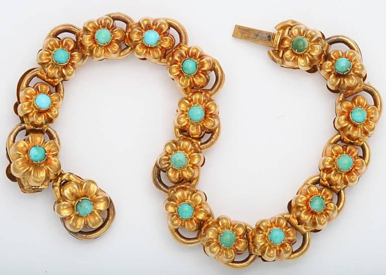 Antique Victorian Turquoise Gold Floral Bracelet 3