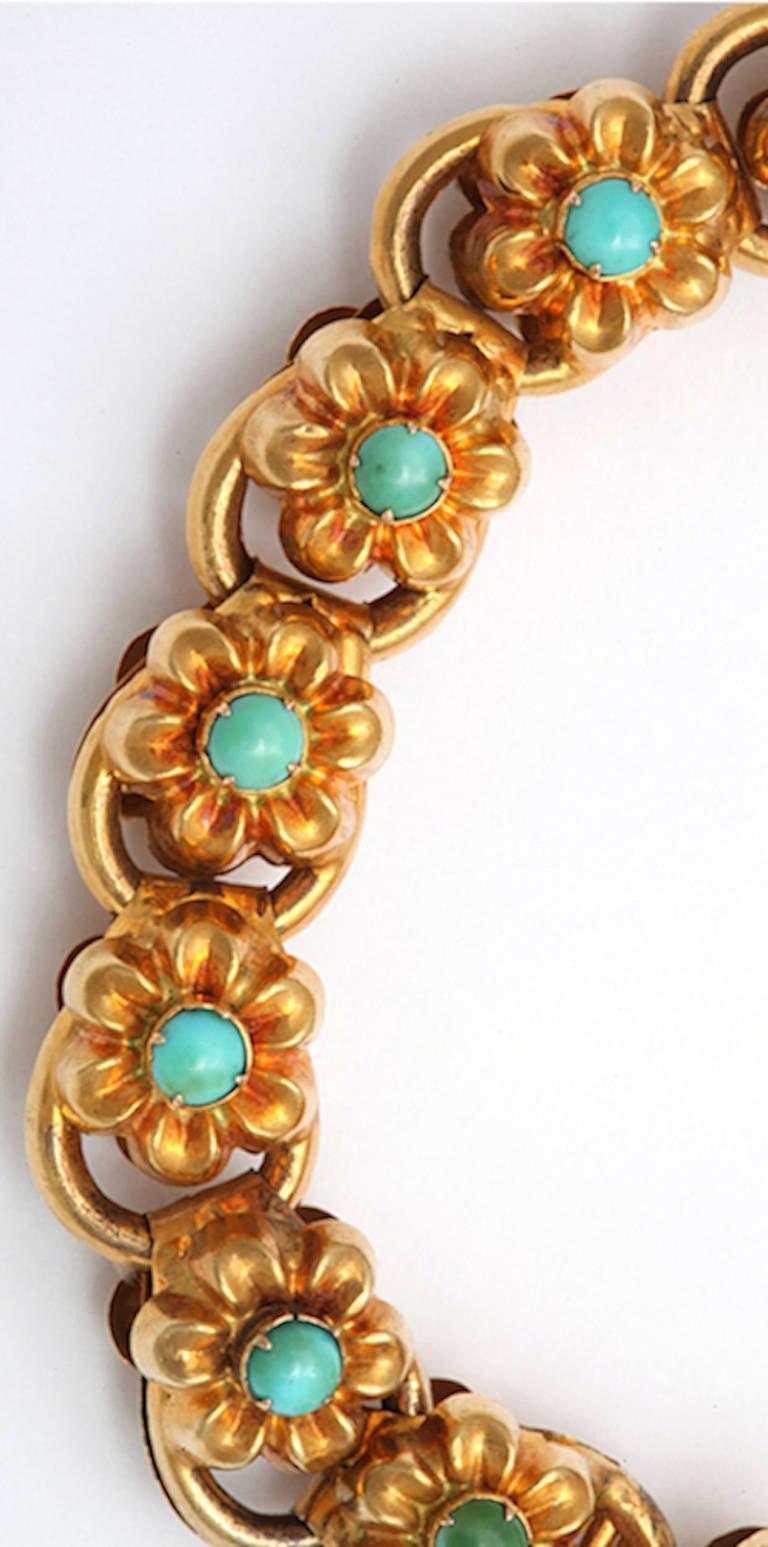 Antique Victorian Turquoise Gold Floral Bracelet 4