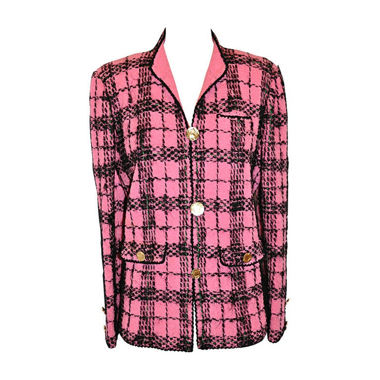 Adolfo Bold Fuchsia & Black Wool Plaid Jacket