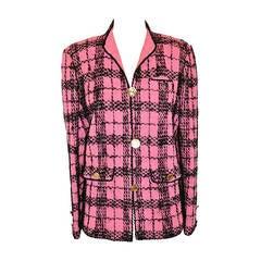 Adolfo Bold Fuchsia & Black Wool Plaid Jacket
