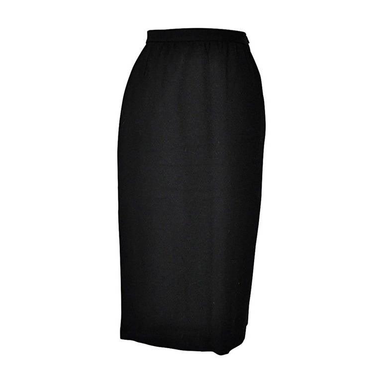 Hanae Mori Classic Black Wool Crepe Skirt