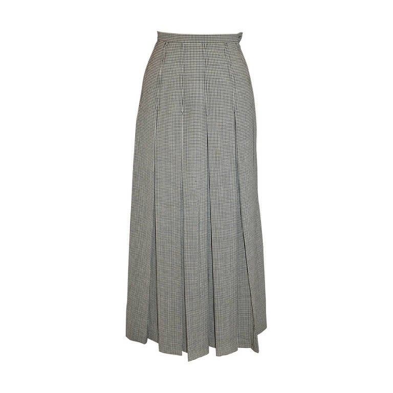 Dolce & Gabbana Black & White Checker Pleated Skirt