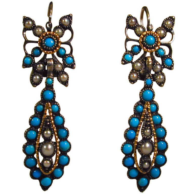 Antique Turquoise Pearl Drop Earrings
