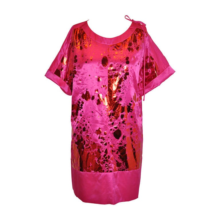 Sonia Rykiel Bold Fuchsia Silk with Metallic Red Accents Tunic Dress