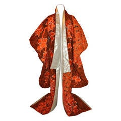 Rare Spectacular Hand-Embroidered Tangerine & Gold Lame Japanese Kimono