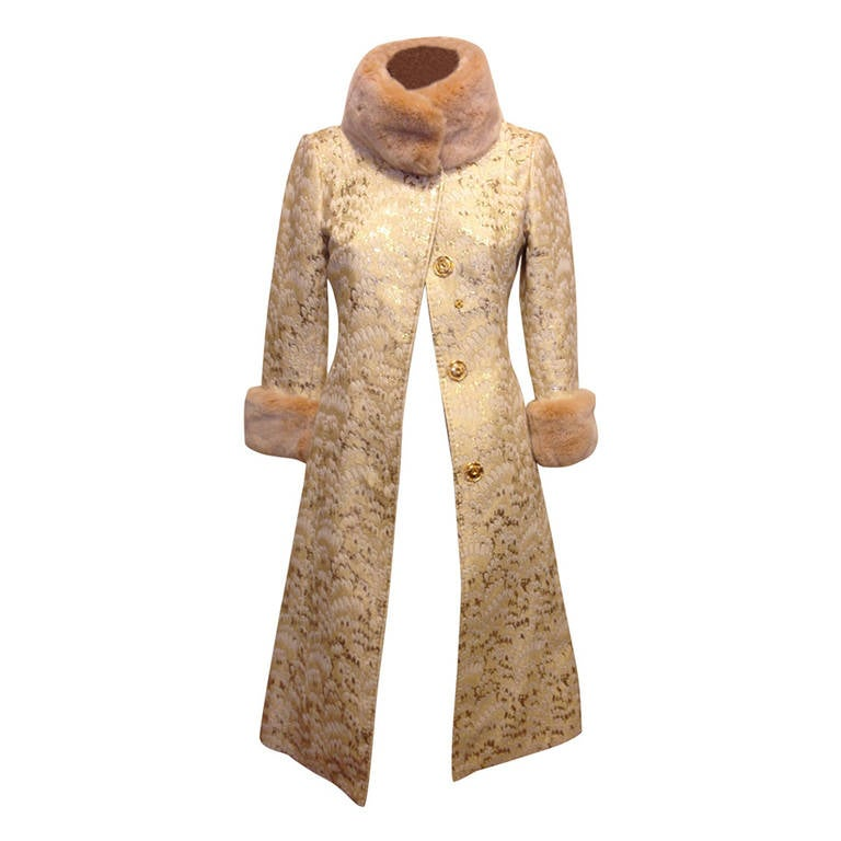 Dolce & Gabbana Gold Brocade Coat with Fur Collar 1