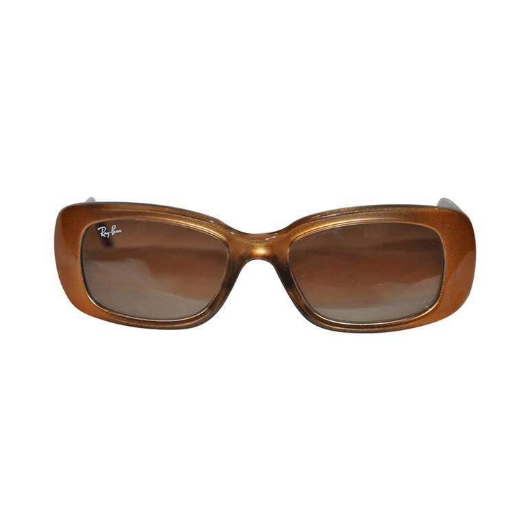 Ray Ban Golden Bronze with Black Interior Lucite Sunglasses