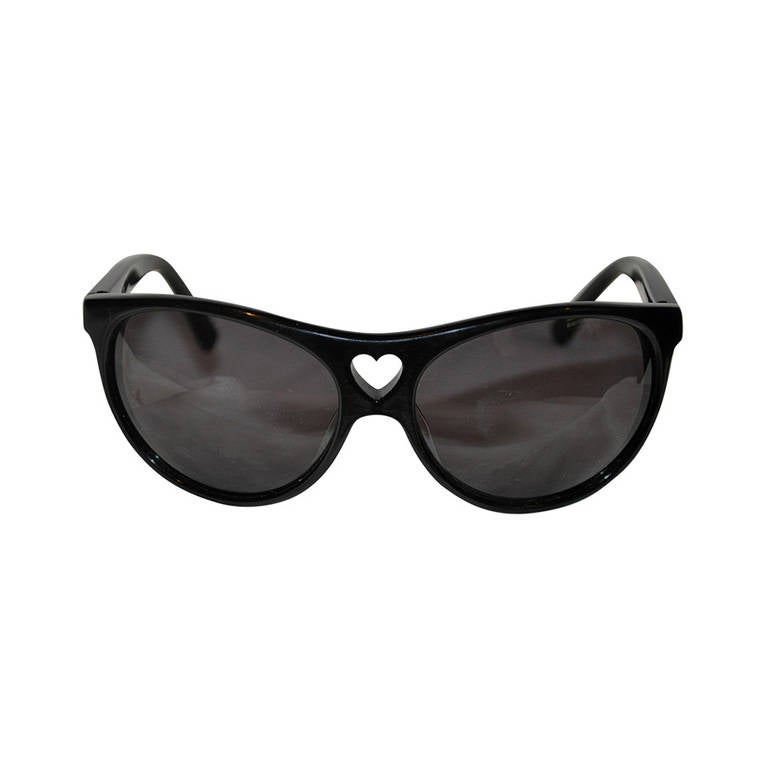 "Moschino ""Love"" Large Black Lucite Sunglasses"